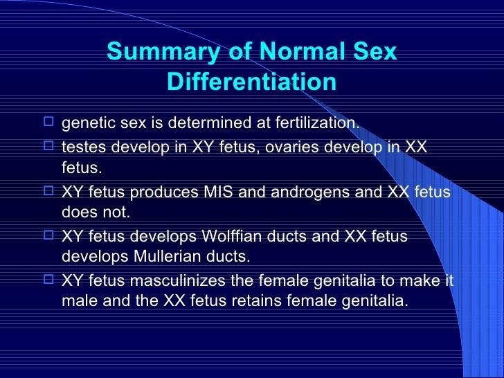 Summary of Normal Sex Differentiation <ul><li>genetic sex is determined at fertilization.  </li></ul><ul><li>testes develo...