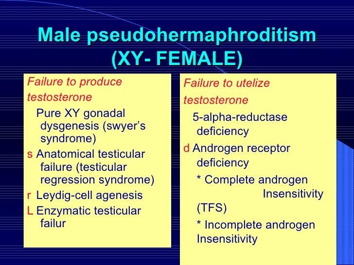 Male pseudohermaphroditism (XY- FEMALE) <ul><li>Failure to produce  </li></ul><ul><li>testosterone   </li></ul><ul><li>  ...
