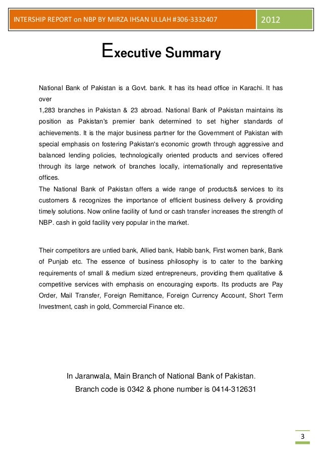 Intership report on nbp - National bank of pakistan head office ...