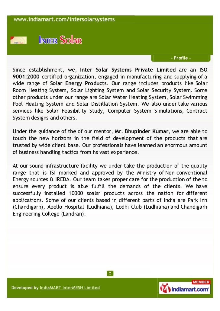 Inter Solar Systems Private Limited, Chandigarh,. Solar Systems  Slide 2