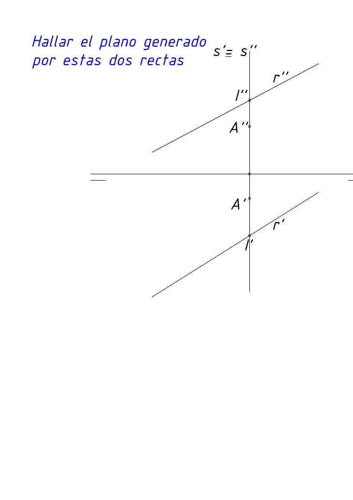 Diédrico: Intersección de dos rectas (una de ellas de perfil) y el plano que forman.