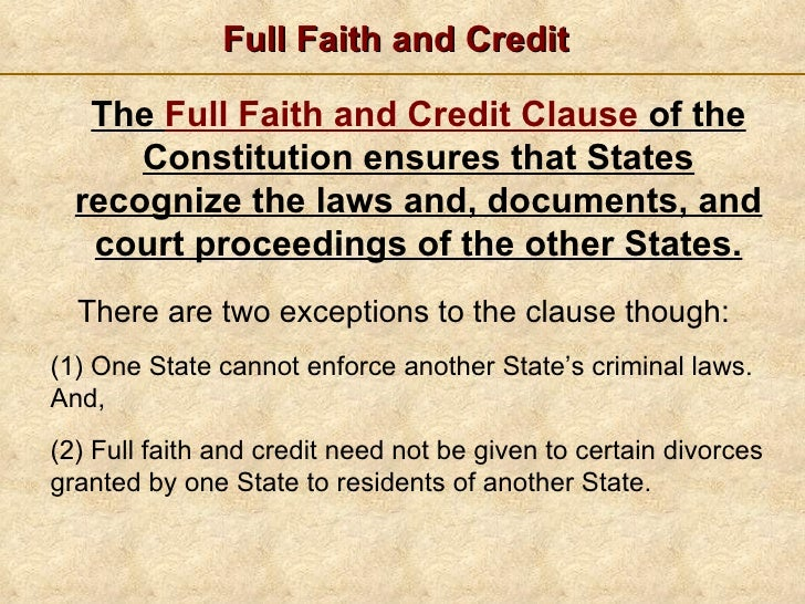 What Is the Full Faith and Credit Clause?