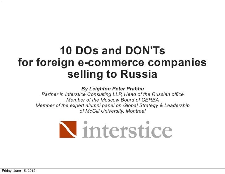 10 DOs and DONTs          for foreign e-commerce companies                    selling to Russia                           ...