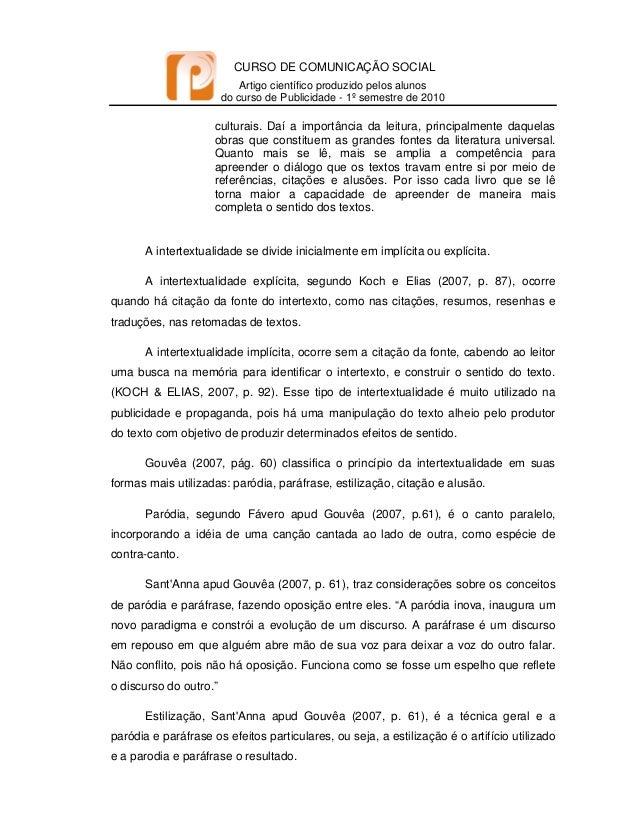 CURSO DE COMUNICAÇÃO SOCIAL Artigo científico produzido pelos alunos do curso de Publicidade - 1º semestre de 2010   c...