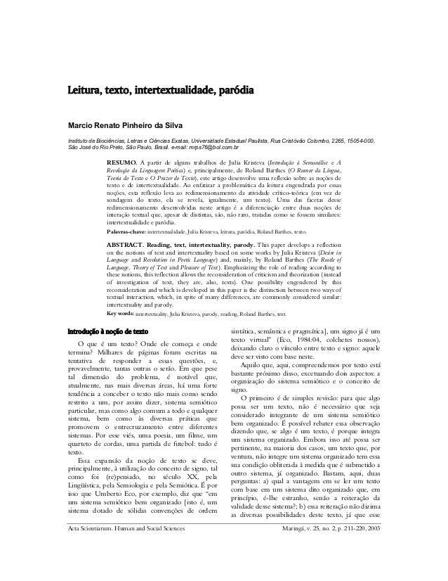 Acta Scientiarum. Human and Social Sciences Maringá, v. 25, no. 2, p. 211-220, 2003 Leitura, texto, intertextualidade, par...