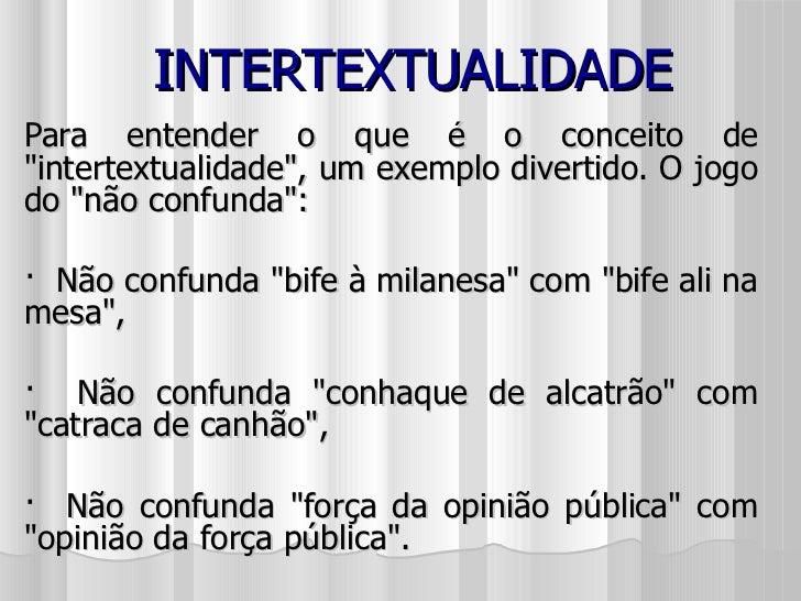 "INTERTEXTUALIDADE Para entender o que é o conceito de ""intertextualidade"", um exemplo divertido. O jogo do &quot..."