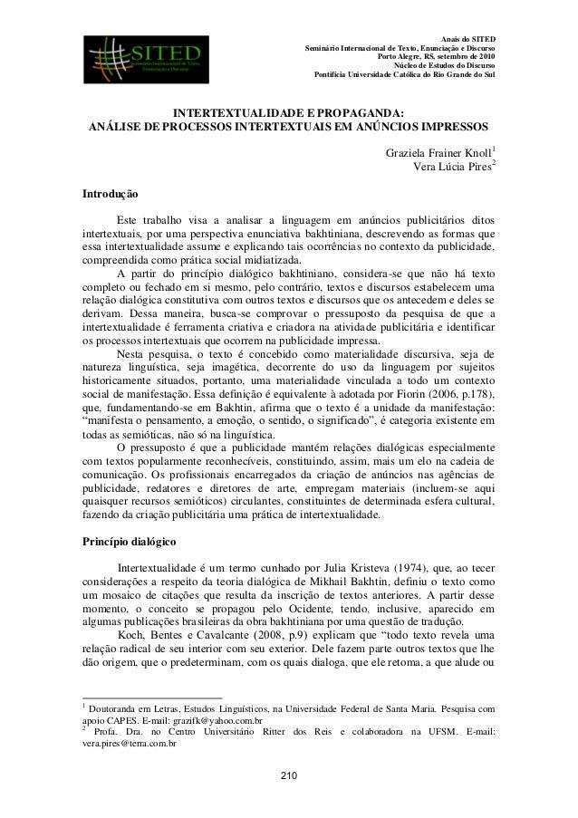 Anais do SITED Seminário Internacional de Texto, Enunciação e Discurso Porto Alegre, RS, setembro de 2010 Núcleo de Estudo...