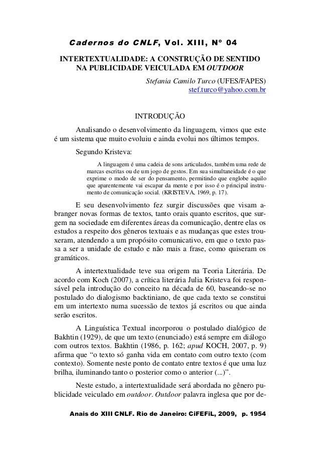 Cadernos do CNLF, Vol. XIII, Nº 04 Anais do XIII CNLF. Rio de Janeiro: CiFEFiL, 2009, p. 1954 INTERTEXTUALIDADE: A CONSTRU...