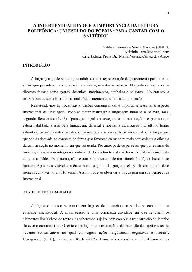 """A INTERTEXTUALIDADE E A IMPORTÂNCIA DA LEITURA POLIFÔNICA: UM ESTUDO DO POEMA """"PARA CANTAR COM O SALTÉRIO"""" Valdice Gomes d..."""