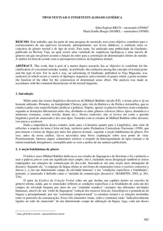 982 TIPOS TEXTUAIS E INTERTEXTUALIDADE GENÉRICA Edna Pagliari BRUN – mestranda (UFMS)2 Maria Emília Borges DANIEL – orient...