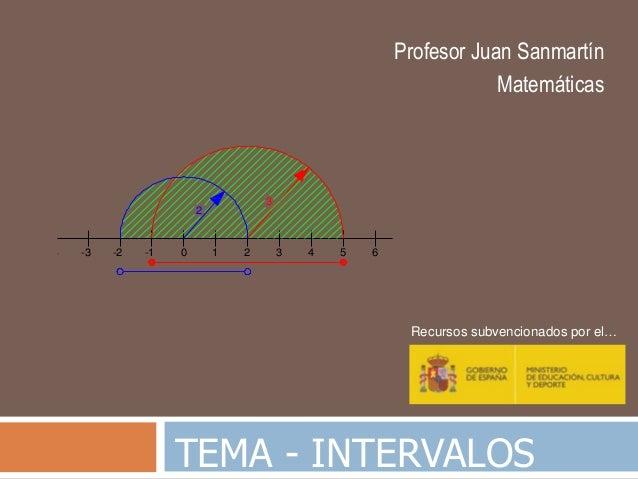 TEMA - INTERVALOS Profesor Juan Sanmartín Matemáticas Recursos subvencionados por el… 3 -3 -2 -1 0 1 2 3 4 5 6 2