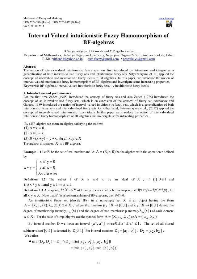 Mathematical Theory and Modeling www.iiste.org ISSN 2224-5804 (Paper) ISSN 2225-0522 (Online) Vol.3, No.10, 2013 15 Interv...