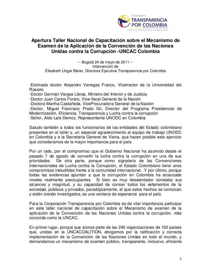 Apertura Taller Nacional de Capacitación sobre el Mecanismo de  Examen de la Aplicación de la Convención de las Naciones  ...