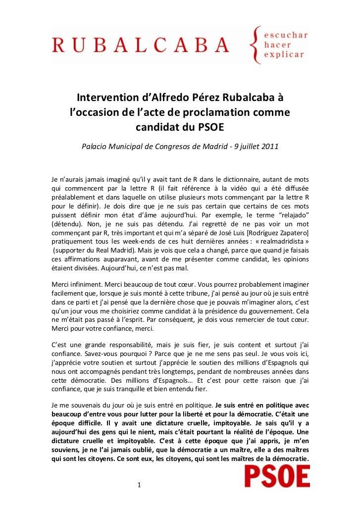 Interventiond'AlfredoPérezRubalcabaà      l'occasiondel'actedeproclamationcomme                   can...
