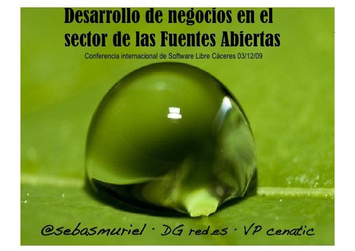 Desarrollo de negocios en el    sector de las Fuentes Abiertas       Conferencia internacional de Software Libre Cáceres 0...