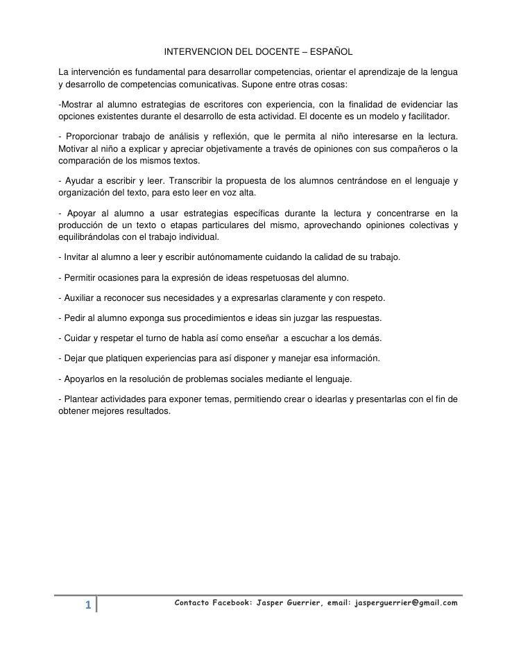 INTERVENCION DEL DOCENTE – ESPAÑOLLa intervención es fundamental para desarrollar competencias, orientar el aprendizaje de...