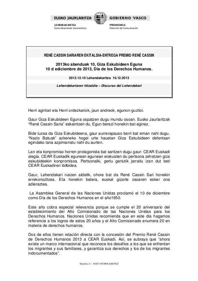 LEHENDAKARITZA Komunikaziorako Zuzendaritza  PRESIDENCIA Dirección de Comunicación  RENÉ CASSIN SARIAREN EKITALDIA-ENTREGA...