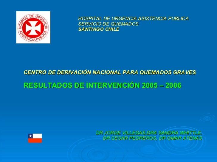CENTRO DE DERIVACIÓN NACIONAL PARA QUEMADOS GRAVES RESULTADOS DE INTERVENCIÓN 2005 – 2006 DR JORGE VILLEGAS, DRA SANDRA WH...
