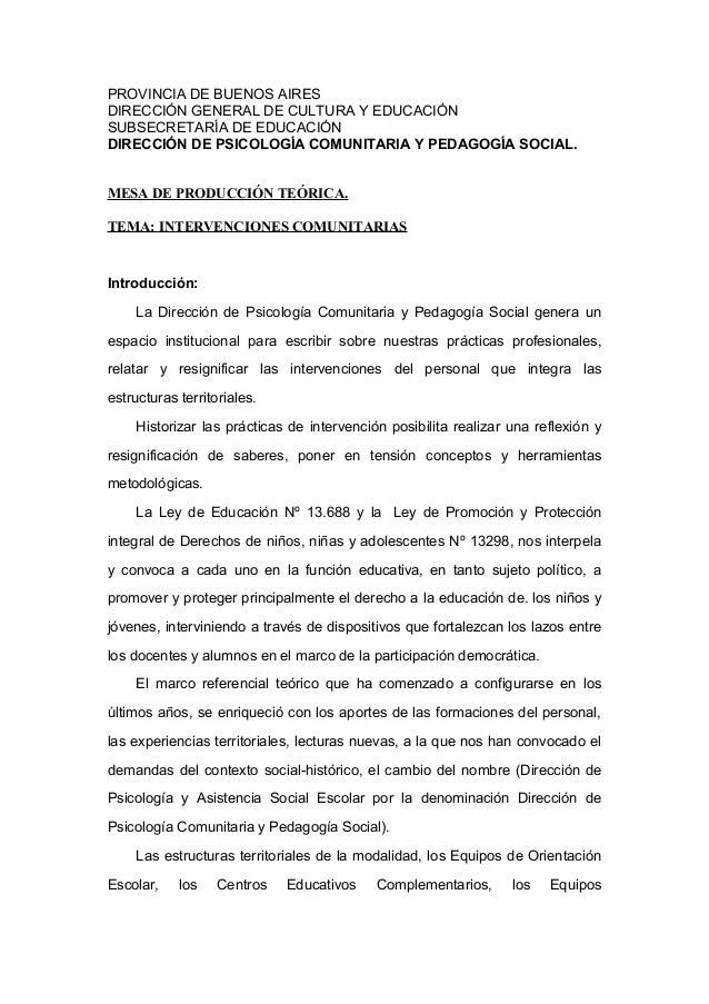 PROVINCIA DE BUENOS AIRES DIRECCIÓN GENERAL DE CULTURA Y EDUCACIÓN SUBSECRETARÍA DE EDUCACIÓN DIRECCIÓN DE PSICOLOGÍA COMU...