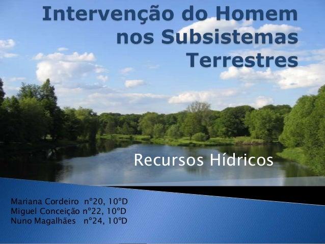 Recursos HídricosMariana Cordeiro nº20, 10ºDMiguel Conceição nº22, 10ºDNuno Magalhães nº24, 10ºD