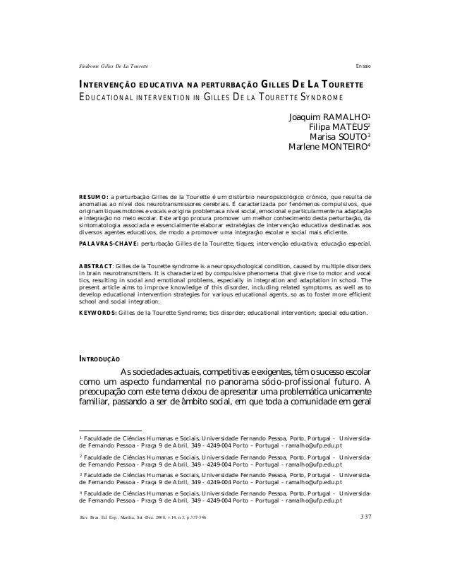 Síndrome Gilles De La Tourette  Ensaio  INTERVENÇÃO EDUCATIVA NA PERTURBAÇÃO GILLES DE LA TOURETTE EDUCATIONAL INTERVENTIO...