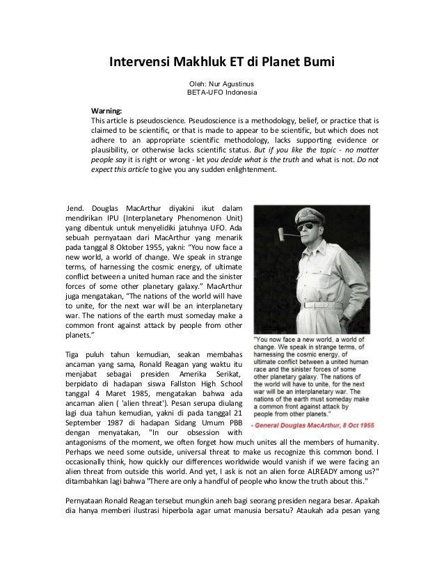 Intervensi Makhluk ET di Planet Bumi Oleh: Nur Agustinus BETA-UFO Indonesia Warning: This article is pseudoscience. Pseudo...