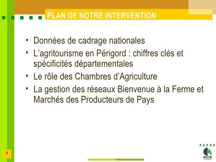 PLAN DE NOTRE INTERVENTION      • Données de cadrage nationales     • L'agritourisme en Périgord : chiffres clés et       ...