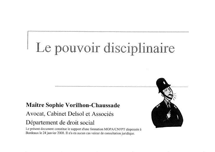 Intervention Maitre Vorilhon Chaussade   Le Pouvoir Disciplinaire