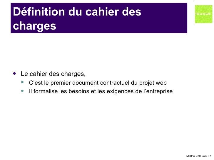 Intervention d 39 armelle gilliard de monopolink - Cahier des charges definition ...