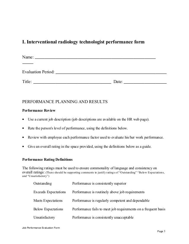 radiology technologist self appraisal job performance evaluation form page 2 3 - X Ray Technologist Job Description