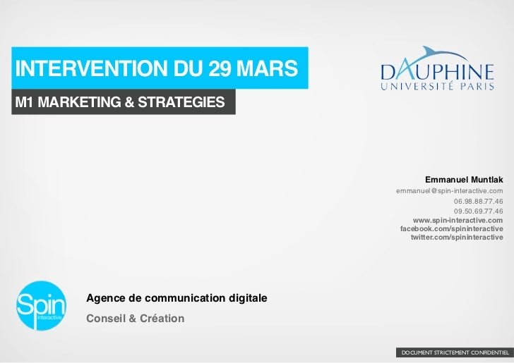 INTERVENTION DU 29 MARSM1 MARKETING & STRATEGIES                                                   Emmanuel Muntlak       ...