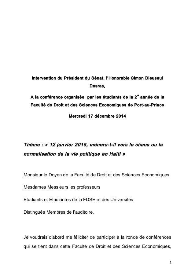 Intervention du Président du Sénat, l'Honorable Simon Dieuseul Desras, A la conférence organisée par les étudiants de la 2...