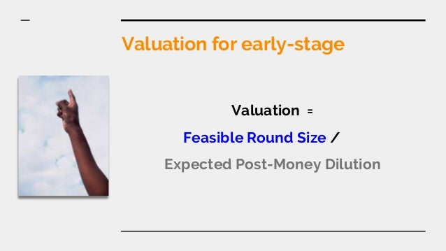 Valuation for early-stage Valuation = Feasible Round Size / Expected Post-Money Dilution