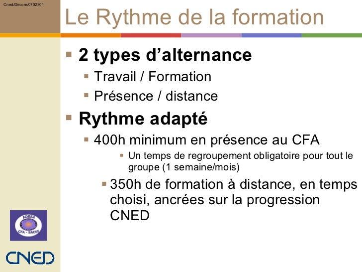 Le Rythme de la formation <ul><li>2 types d'alternance </li></ul><ul><ul><li>Travail / Formation </li></ul></ul><ul><ul><l...