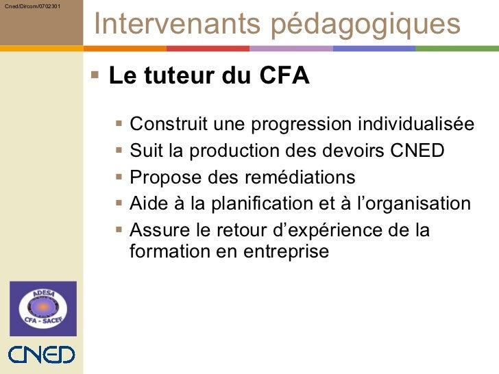 Intervenants pédagogiques <ul><li>Le tuteur du CFA </li></ul><ul><ul><li>Construit une progression individualisée </li></u...