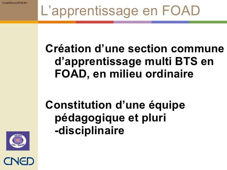 L'apprentissage en FOAD <ul><ul><li>Création d'une section commune d'apprentissage multi BTS en FOAD, en milieu ordinaire ...