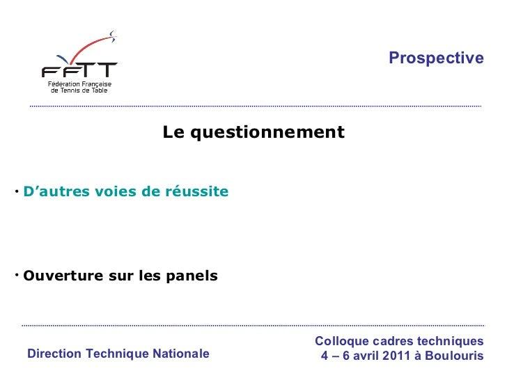 Le questionnement <ul><li>D'autres voies de réussite </li></ul><ul><li>Ouverture sur les panels </li></ul>Direction Techni...