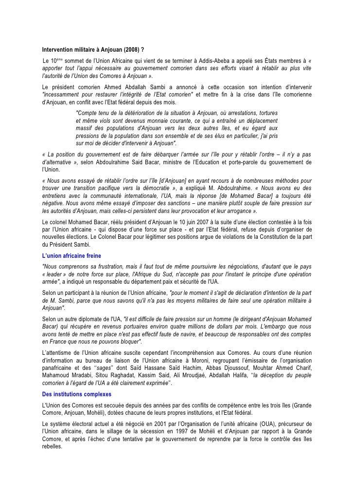 Intervention militaire à Anjouan (2008) ? Le 10ème sommet de l'Union Africaine qui vient de se terminer à Addis-Abeba a ap...