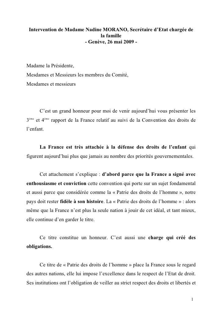 Intervention de Madame Nadine MORANO, Secrétaire d'Etat chargée de                               la famille               ...