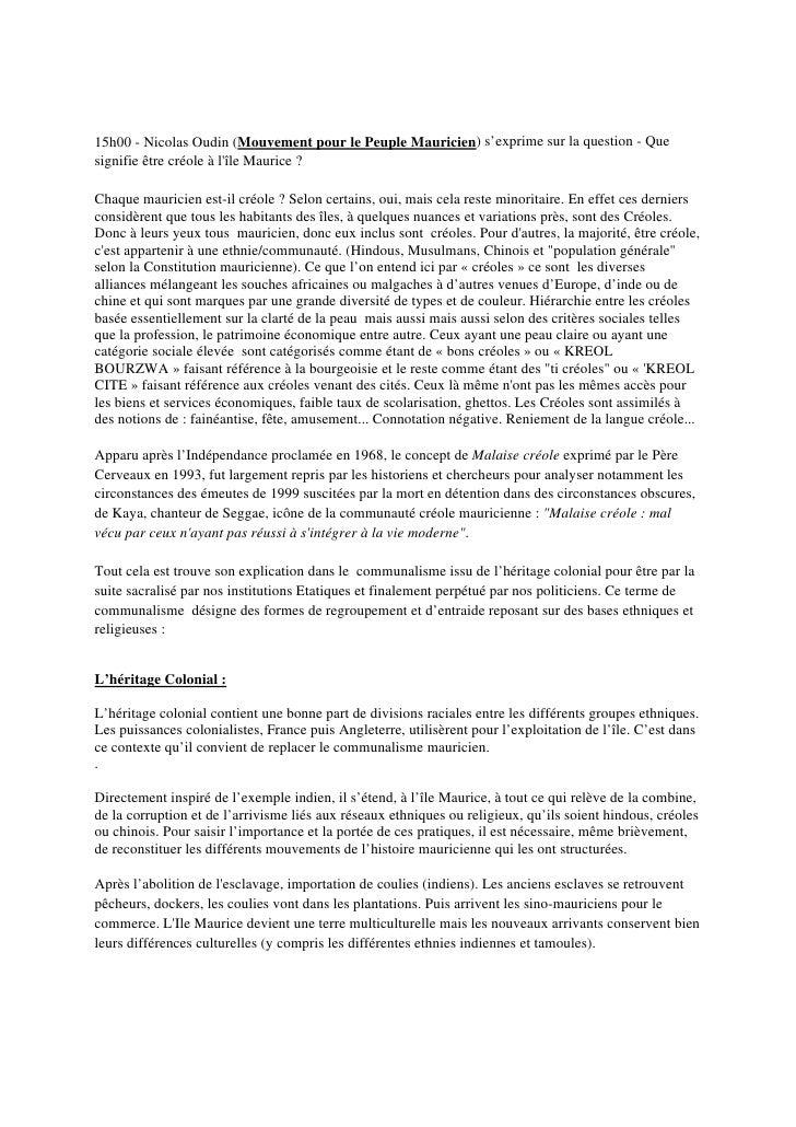 15h00 - Nicolas Oudin (Mouvement pour le Peuple Mauricien) s'exprime sur la question - Que signifie être créole à l'île Ma...