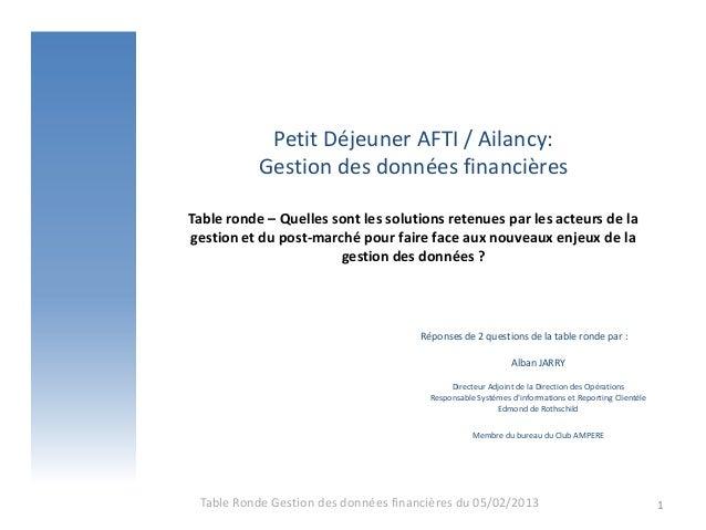 Petit Déjeuner AFTI / Ailancy:           Gestion des données financièresTable ronde – Quelles sont les solutions retenues ...