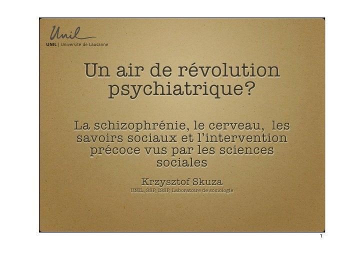 Un air de révolution    psychiatrique? La schizophrénie, le cerveau, les savoirs sociaux et l'intervention   précoce vus p...