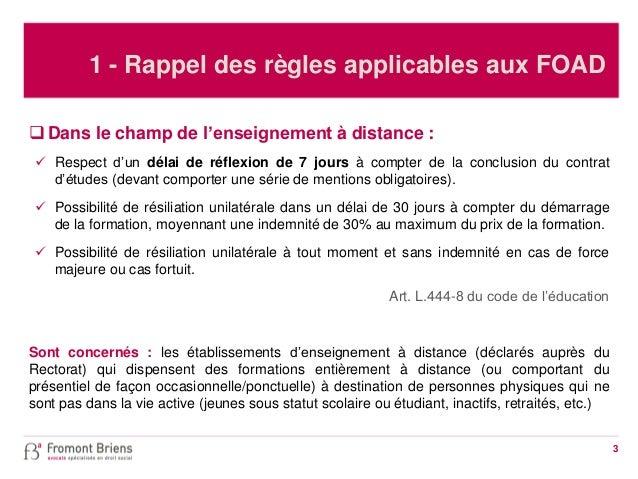 L'impact des récentes réformes sur la vente à distance de formations Slide 3