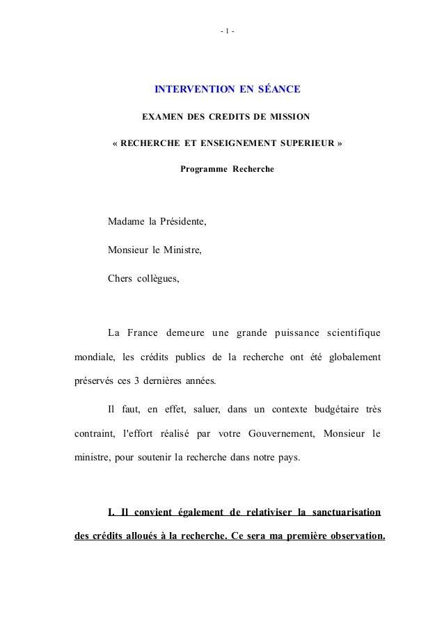 - 1 - INTERVENTION EN SÉANCE EXAMEN DES CREDITS DE MISSION « RECHERCHE ET ENSEIGNEMENT SUPERIEUR » Programme Recherche Mad...
