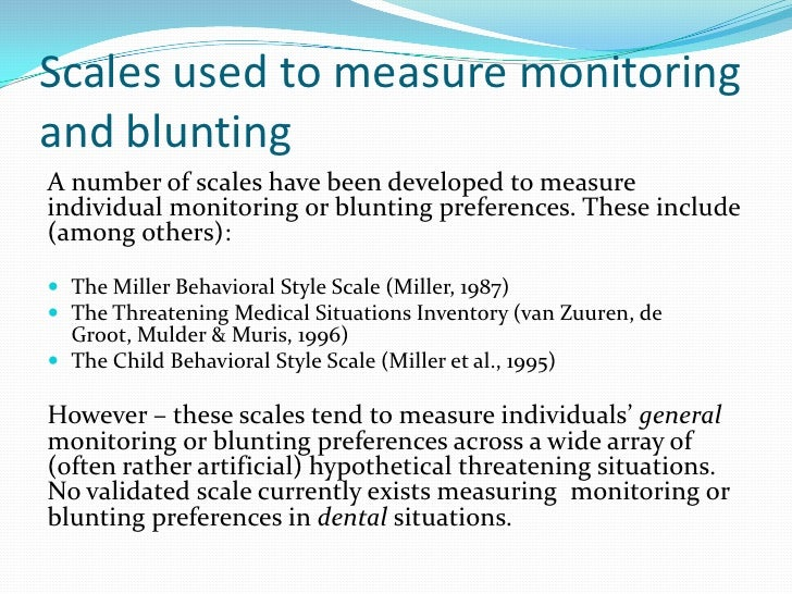 the miller behavioral style scale monitoring and blunting pdf