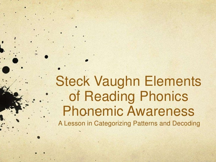 Steck Vaughn Elements  of Reading Phonics Phonemic AwarenessA Lesson in Categorizing Patterns and Decoding