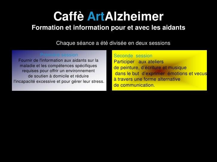 Caffè ArtAlzheimer         Formation et information pour et avec les aidants                  •   Chaque séance a été divi...