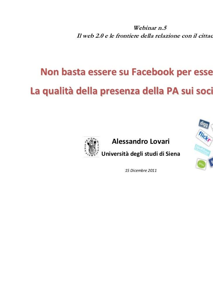 AlessandroLovari‐ –lovari2@unisi.it                                 Webinar n.5          Il web 2.0 e le frontiere della ...