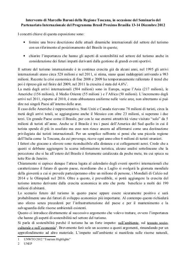 Intervento di Marcello Baroni della Regione Toscana, in occasione del Seminario del    Partenariato Internazionale del Pro...