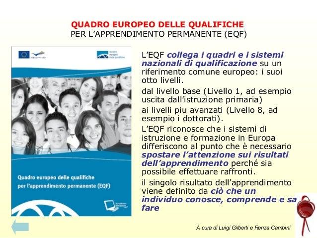 QUADRO EUROPEO DELLE QUALIFICHE PER L'APPRENDIMENTO PERMANENTE (EQF) L'EQF collega i quadri e i sistemi nazionali di quali...